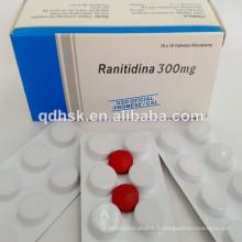 Haute qualité Ranitidine HCl comprimé 300mg