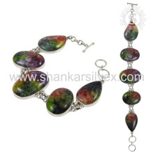 Graceful colored jasper gemstone silver bracelet jewelry 925 sterling bracelets silver jewellery wholesaler