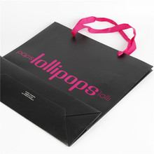 Cheap Large Black Paper Bags with Ribbon Handles