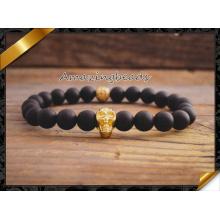 Bracelets à breloques d'or en breloque, bracelets en perles d'agate noir (CB030)