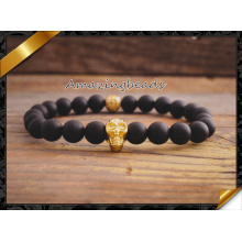Golden Skull Charms Bracelets, Black Agate Beaded Bracelets (CB030)