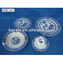 20pcs Round Blue and White Bone China Dinnerware Sets