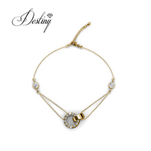 Fashion Jewelry Simple Circle Rings Shaped Link Chain Bracelet for Women Girl Made with High Quality Crystal