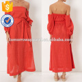 New Fashion Red Broderie Lace Off The Shoulder Dress Manufacture Wholesale Fashion Women Apparel (TA5299D)