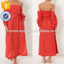 New Fashion Red Broderie Spitze weg von der Schulter Kleid Herstellung Großhandel Mode Frauen Bekleidung (TA5299D)