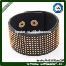 Fashion Cow hide Bracelets en cuir large Mens Bracelets en diamant / hommes