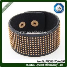 Moda Pele de vaca Grandes pulseiras de couro Pulseiras de diamante para homens / homens