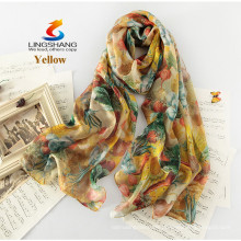 LINGSHANG neuer Art silk Schalgeschenk weiblicher langer Entwurf silk Sommer dünner Sonnenschutzart und weisedruck silk Schal