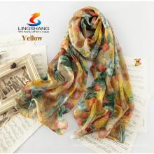 LINGSHANG новый стиль шелковый шарф подарок женский длинный дизайн шелка лето тонкий солнцезащитный крем моды печати шелковый шарф