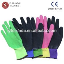 Latex-Palme beschichtete Nylon-Handschuhe, Falten-Finish, 13 Gauge Nylon Arbeitshandschuhe
