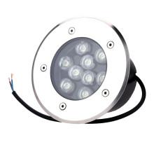 Lámpara subterránea empotrada redonda de acero inoxidable LED empotrable 9W para exteriores (blanco cálido, blanco frío, rojo, verde, azul, amarillo, color RGB)