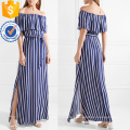 Off-The-Shoulder Short Sleeve Navy And White Striped Summer Maxi Dress Manufacture Wholesale Fashion Women Apparel (TA0267D)