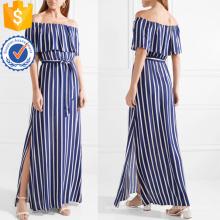 Off-плечи короткий рукав военно-морской флот и белый полосатый Макси платье лето оптом производство модной женской одежды (TA0267D)