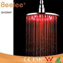 Cabezal de ducha de lluvia LED autoamplificado de latón de 8 pulgadas