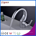 Fyeer Chrome Crooked Spout Single Handle Hot&Cold Water Wash Basin Faucet Mixer Tap