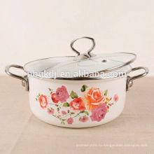 изготовленный на заказ цвет и деколи эмаль кемпинг горшок другого цвета и деколи эмалированной посуде кемпинг