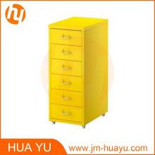 Classeur en acier jaune de 6 tiroirs de meubles de bureau