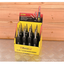Tournevis d'outils de main OEM Soft Grip 6 In1 Display Box