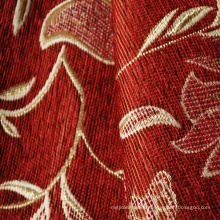 Red Color Chenille Follower Patter Fabric for Sofa