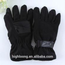 Guantes de paño grueso negro con agarre de palma de PU apretado