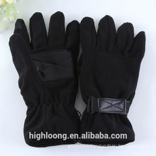 Dark black fleece gloves with PU palm grip tight