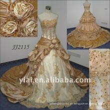 2010 Últimas más impresionante nueva llegada real rebordeado vestido de boda JJ2115