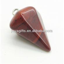 Pendentif en pierre gemme en pierre rouge à 6 côtés en forme de cône