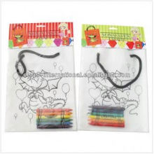 non woven bag drawing kids diy painting handmade handbag with crayon