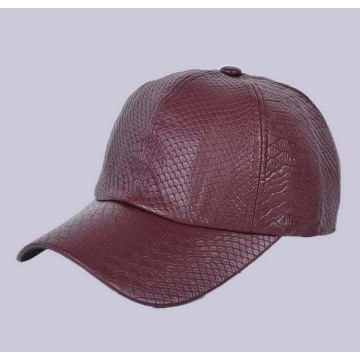 Plain Leather Python Pattern Caps Leather Baseball Cap
