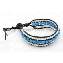 Friendship Turquoise 8MM Round Beads Wrap Bracelets