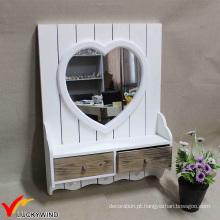 Pequena branca moldada espelhos de parede com decoração gaveta