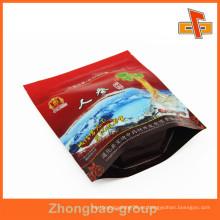 Guangzhou Grado Alimenticio De Aluminio Giseng Bolsa De Plástico Laminación Ziplock Bolsa Con Ventana