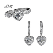 18K Gold Plated with High Quality Crystal Only Love Heart Ring Earrings Jewelry Set
