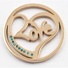 Розовое Золотое Сердце Любовь с Зеленым Cyrstal