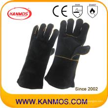 Черный Подлинная натуральной кожи промышленной безопасности рук сварки рабочих перчаток (111033)