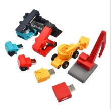 PVC Rubber Car Shape Custom USB Flash Drive 3D Shape PVC  USB Flash Drive Silicon Rubber Excavator Shape USB Pendrive