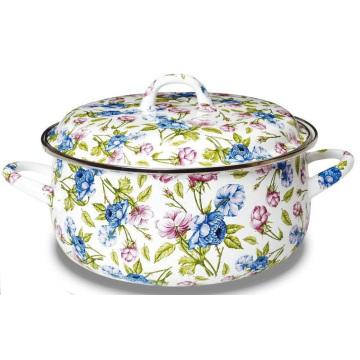 18cm High Grade Fashion Enamel Pot with Full Flower