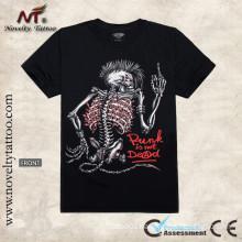 Y-100201 Skeleton Luminous Tattoo T-shirt Glow in the Dark