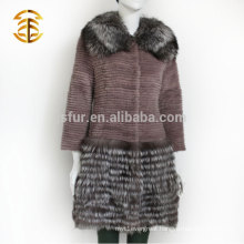 Factory Direct Supply Real Rex Rabbit Silver Fox Fur Coat