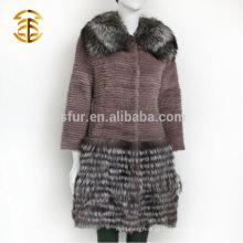 Fábrica de Abastecimento direto Real Rex Rabbit Silver Fox Fur Coat