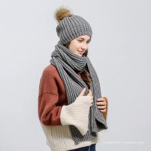 Fio de lã pura cor de malha mulheres chapéu com chapéu de pom poms e lenço definido