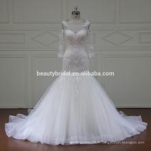 Robe de mariée A-ligne en perles de luxe à manches longues