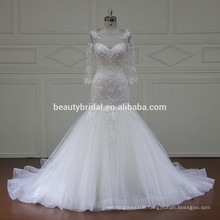Long sleeve luxury beaded A-line wedding dress