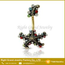 Oro plateado acero color piedra estrella de mar ombligo cuelga anillo joyería del cuerpo