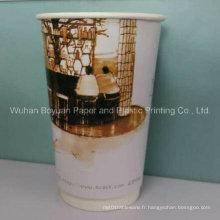 Tasse à café en papier à double paroi de 16 oz