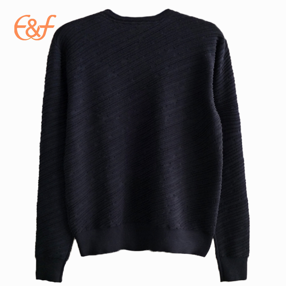 Men's Cross Rib Pattern Black Sweater With Zippers