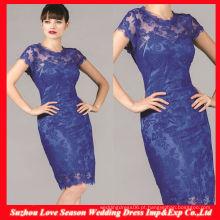 HM0054 Último Designer Alta qualidade OEM atacadista manga curta royal blue shealth knee length mãe dos vestidos de renda de noiva
