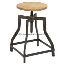 Taburete de Bar regulable de tubo de asiento de madera hierro