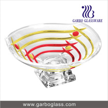 Line Printed Glass Salad Bowl with Stand