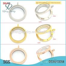 Plata / oro / oro rosa redondo 20mm / 25mm / 30mm magnético flotante colgantes de cristal al por mayor locket, memoria flotante encantos locket
